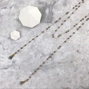 Hematite & Agate Semi-precious Lariat necklace NWT